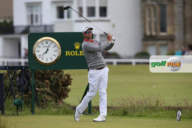Adam Scott (AUS) drives from the 2nd tee during Round Two of the 144th Open, played at the Old Course, St Andrews, Scotland. /17/07/2015/. Picture: Golffile | David Lloyd<br /> <br /> All photos usage must carry mandatory copyright credit (&copy; Golffile | David Lloyd)
