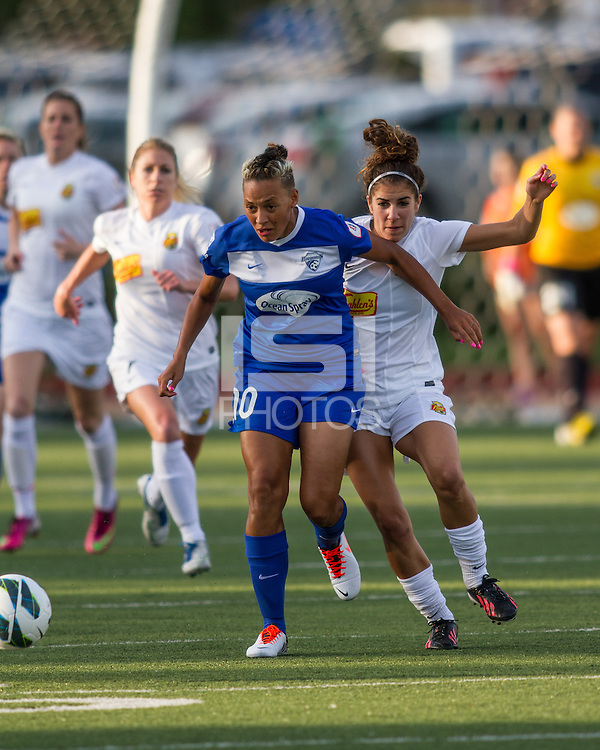 u In a National Women's Soccer League Elite (NWSL) match, the Boston Breakers defeated the Western New York Flash  2-1, at Dilboy Stadium on May 5, 2013.  Boston Breakers forward Lianne Sanderson (10) and Western New York Flash midfielder Angela Salem (6) compete for the ball.