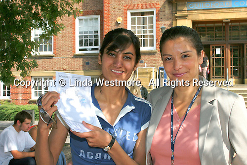 "Celebrating ""A"" Level results at Further Education College, England.."