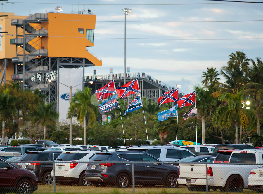 Nov 18, 2018; Homestead, FL, USA; Confederate flags are visible in the parking lot of Homestead-Miami Speedway during the NASCAR Cup Series Ford EcoBoost 400. Mandatory Credit: Mark J. Rebilas-USA TODAY Sports