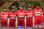 Denmark team at sign on for the start of the Women Elite Road Race of the UCI World Championships 2019 running 149.4km from Bradford to Harrogate, England. 28th September 2019.<br /> Picture: Eoin Clarke | Cyclefile<br /> <br /> All photos usage must carry mandatory copyright credit (© Cyclefile | Eoin Clarke)