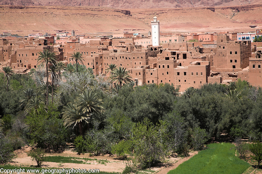 Tinerhir, Morocco. A Berber oasis town on the south eastern foothills of the Atlas Mountains on the fringe of the Sahara desert. Tinerhir, Morocco, north Africa
