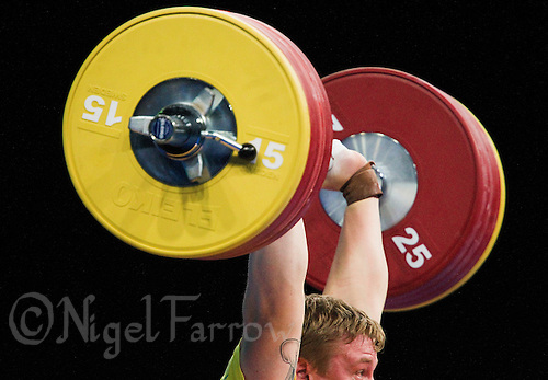 11 DEC 2011 - LONDON, GBR - Jim Gyllenhammar (SWE) lifts during the men's +105kg category Clean and Jerk of the London International Weightlifting Invitational and 2012 Olympic Games test event held at the ExCel Exhibition Centre in London, Great Britain .(PHOTO (C) NIGEL FARROW)