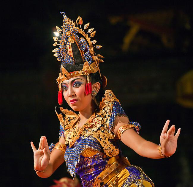 The KEBYAR DUDUK DANCE is performed by the Cenik Wayah Gamelan Dance Group at PURA TAMAN SARASWATI - UBUD, BALI, INDONESIA