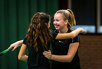 Wateringen, The Netherlands, December 15,  2019, De Rhijenhof , NOJK juniors doubles , Final girls 12  years, Britt du Pree (NED) and Lina Ilahi (NED)  (L) winners celebrate matchpoint,<br /> Photo: www.tennisimages.com/Henk Koster