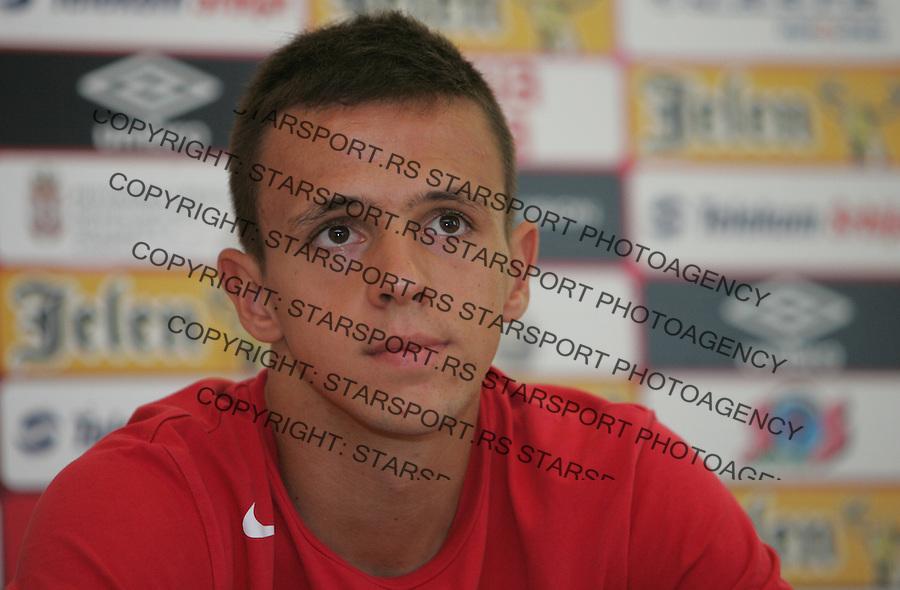 Fudbal Soccer<br /> Press conference prior the U19 European championship in Hungary<br /> Nemanja Maksimovic<br /> Beograd, 07.15.2014<br /> foto: Srdjan Stevanovic/Starsportphoto &copy;