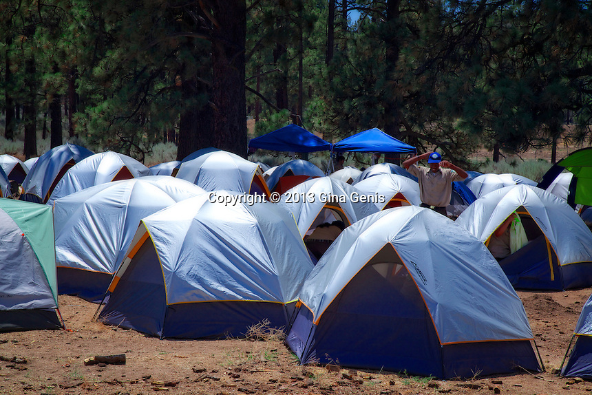 Tents of the California Conservation Corps at the Lake Hemet staging area during the Mountain Center fire