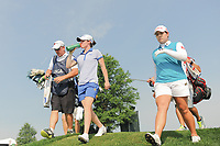 Leona Maguire (a)(IRL) and Ariya Jutanugarn (THA) depart the 16th tee during Thursday's first round of the 72nd U.S. Women's Open Championship, at Trump National Golf Club, Bedminster, New Jersey. 7/13/2017.<br /> Picture: Golffile | Ken Murray<br /> <br /> <br /> All photo usage must carry mandatory copyright credit (&copy; Golffile | Ken Murray)