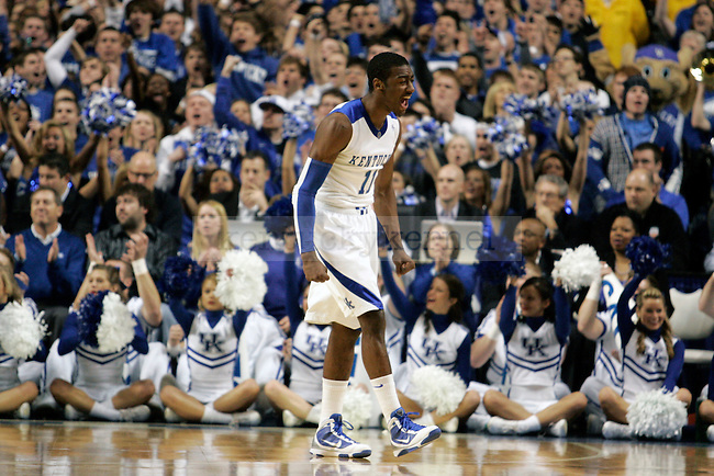 Freshman guard John Wall celebrates after scoring a goal in the first half of UK's 71-62 win over Louisville at Rupp Arena on Saturday, Jan. 2, 2010. Photo by Britney McIntosh | Staff