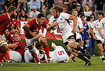 August 13, 2011:  Canada's Jamie Cudmore bears down on USA's John van der Giessen during the pre World Cup test match between Canada and USA's national teams at Infinity Park, Glendale, Colorado.  Canada defeated USA 27-7.     .. ...