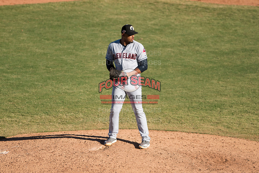Glendale Desert Dogs relief pitcher Dalbert Siri (39), of the Cleveland Indians organization, gets ready to deliver a pitch during an Arizona Fall League game against the Mesa Solar Sox at Sloan Park on October 27, 2018 in Mesa, Arizona. Glendale defeated Mesa 7-6. (Zachary Lucy/Four Seam Images)