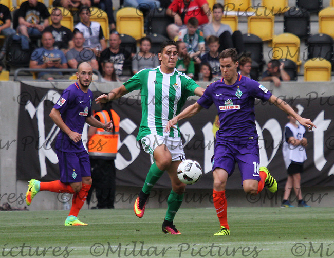 Niklas Moisander (18) getting to the ball first in the Werder Bremen v Real Betis match in the Bundeswehr Karriere Cup Dresden 2016 played at the DDV Stadion, Dresden on 29.7.16.