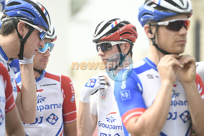 David Gaudu (FRA) and Groupama-FDJ at sign on before the start of Stage 5 of the 2019 UAE Tour, running 181km form Sharjah to Khor Fakkan, Dubai, United Arab Emirates. 28th February 2019.<br /> Picture: LaPresse/Fabio Ferrari | Cyclefile<br /> <br /> <br /> All photos usage must carry mandatory copyright credit (© Cyclefile | LaPresse/Fabio Ferrari)