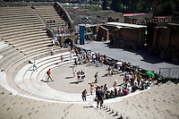 A theater is seen on Friday, Sept. 18, 2015, in Pompeii, Italy. The city of Pompeii was destroyed when nearby Mount Vesuvius erupted on August 24, AD 79. The town and its residents were buried and forgotten until the ruins were discovered and eventually excavated hundreds of years later. The ruins are one of Italy's top tourist attractions today. (Photo by James Brosher)