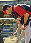 29 September 2012: Minnesota Twins catcher Joe Mauer awaits his turn in the batting cage prior to a game against the Detroit Tigers at Target Field in Minneapolis, MN. The Tigers defeated the Twins 6-4 in the second game of their 3-game series. Mandatory Credit: Ed Wolfstein Photo