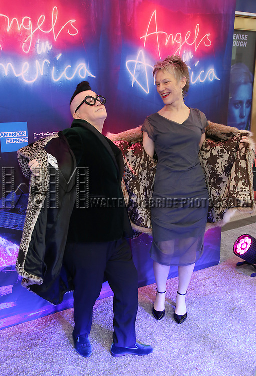 """Lea Delaria with her friend Diane attends the Broadway Opening Night Arrivals for """"Angels In America"""" - Part One and Part Two at the Neil Simon Theatre on March 25, 2018 in New York City."""
