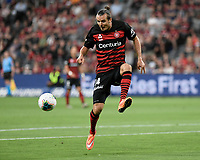 1st January 2020; Bankwest Stadium, Parramatta, New South Wales, Australia; Australian A League football, Western Sydney Wanderers versus Brisbane Roar; Alexander Meier of Western Sydney Wanderers controls a high ball - Editorial Use