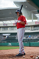 Boston Red Sox left fielder Trey Ball (57) on deck during a Florida Instructional League game against the Baltimore Orioles on September 21, 2018 at JetBlue Park in Fort Myers, Florida.  (Mike Janes/Four Seam Images)