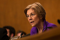 United States Senator Elizabeth Warren (Democrat of Massachusetts) asks a question of former United States Representative Scott Garrett (Republican of New Jersey) during the US Senate Committee on Banking, Housing, &amp; Urban Affairs hearing on his confirmation to be President of the Export-Import Bank on Capitol Hill in Washington, D.C. on November 1st, 2017. <br />