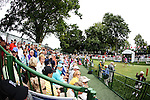 Fans watch Lexi Thompson (far right) tee off on the 1st tee at the LPGA Championship 2014 Sponsored By Wegmans at Monroe Golf Club in Pittsford, New York on August 16, 2014