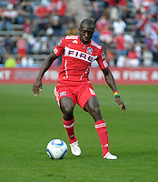 Chicago forward Dominic Oduro (8) makes a move with the ball.  The Chicago Fire defeated the New England Revolution 3-2 at Toyota Park in Bridgeview, IL on Sept. 25, 2011.