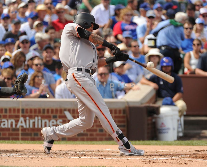 San Francisco Giants Ehire Adrianza (1) during a game against the Chicago Cubs on September 4, 2016 at Wrigley Field in Chicago, IL. The Cubs beat the Giants 3-2.