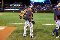 Cleveland Indians Ryan Merritt (54) walks to the bullpen wearing a military backpack before Game 5 of the Major League Baseball World Series against the Chicago Cubs on October 30, 2016 at Wrigley Field in Chicago, Illinois.  (Mike Janes/Four Seam Images)