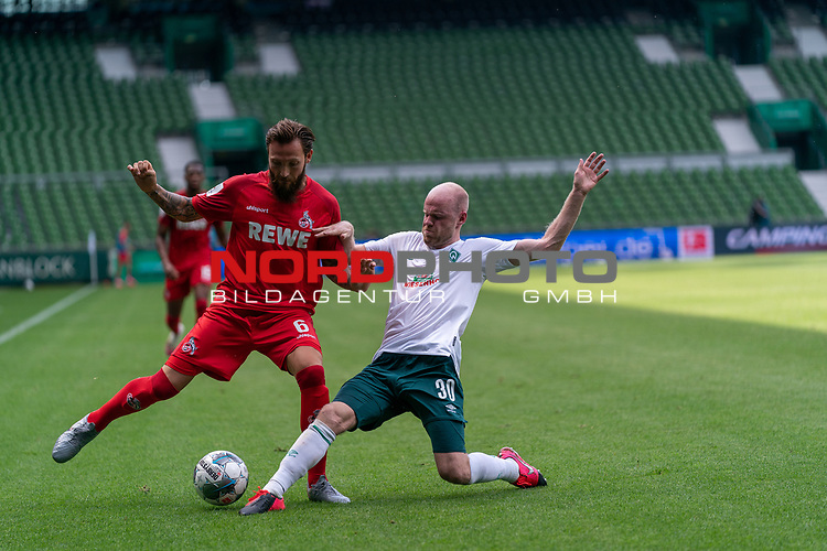 Marco Höger / Hoeger (FC Koeln #6), Davy Klaassen (Werder Bremen #30)<br /> <br /> <br /> Sport: nphgm001: Fussball: 1. Bundesliga: Saison 19/20: 34. Spieltag: SV Werder Bremen vs 1.FC Koeln  27.06.2020<br /> <br /> Foto: gumzmedia/nordphoto/POOL <br /> <br /> DFL regulations prohibit any use of photographs as image sequences and/or quasi-video.<br /> EDITORIAL USE ONLY<br /> National and international News-Agencies OUT.