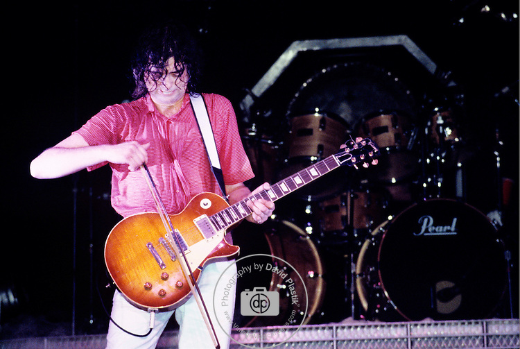Jimmy Page of The Firm performing in New York City.<br />May, 1985.<br />© David Plastik / Retna Ltd.