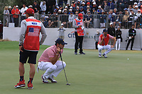 Patrick Reed (USA) and Webb Simpson (USA) on the 10th green during the First Round - Four Ball of the Presidents Cup 2019, Royal Melbourne Golf Club, Melbourne, Victoria, Australia. 12/12/2019.<br /> Picture Thos Caffrey / Golffile.ie<br /> <br /> All photo usage must carry mandatory copyright credit (© Golffile | Thos Caffrey)