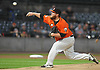 Matt Larkins #44, Long Island Ducks starting pitcher, delivers in the top of the first inning in Game 1 of the Atlantic League Championship Series against the York Revolution at Bethpage Ballpark in Central Islip, NY on Wednesday, Sept. 27, 2017.