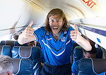 Spartak Trnava v St Johnstone...06.08.14  Europa League Qualifier 3rd Round<br /> A fit again Murray Davidson on the flight to Bratislava.<br /> Picture by Graeme Hart.<br /> Copyright Perthshire Picture Agency<br /> Tel: 01738 623350  Mobile: 07990 594431