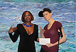 Nicole Farrell with Rain Dove at Color of Beauty Awards hosted by VH1's Gossip Table's Delaina Dixon and Maureen Tokeson-Martin on February 28, 2015 with red carpet, awards and cocktail reception at Ana Tzarev Gallery, New York City, New York.  (Photo by Sue Coflin/Max Photos)