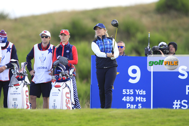 Bronte Law of Team Europe on the 9th tee during Day 1 Fourball at the Solheim Cup 2019, Gleneagles Golf CLub, Auchterarder, Perthshire, Scotland. 13/09/2019.<br /> Picture Thos Caffrey / Golffile.ie<br /> <br /> All photo usage must carry mandatory copyright credit (© Golffile | Thos Caffrey)
