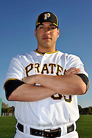 Feb 28, 2010; Bradenton, FL, USA; Pittsburgh Pirates  catcher Jason Jaramillo (35) during  photoday at Pirate City. Mandatory Credit: Tomasso De Rosa/ Four Seam Images