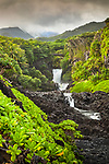 Ohe'o Gulch aka Seven Sacred Pools cascading down through lush tropical greens, Haleakala National Park, Maui, Hawaii.