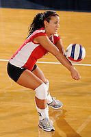 20 November 2008:  Western Kentucky defensive specialist Lindsey Gould (6) returns the ball during the WKU 3-0 victory over Denver in the first round of the Sun Belt Conference Championship tournament at FIU Stadium in Miami, Florida.