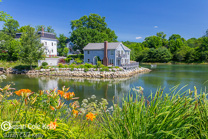 Waterfront homes seen from Horton Emerson Park in Blue Hill, Maine, USA