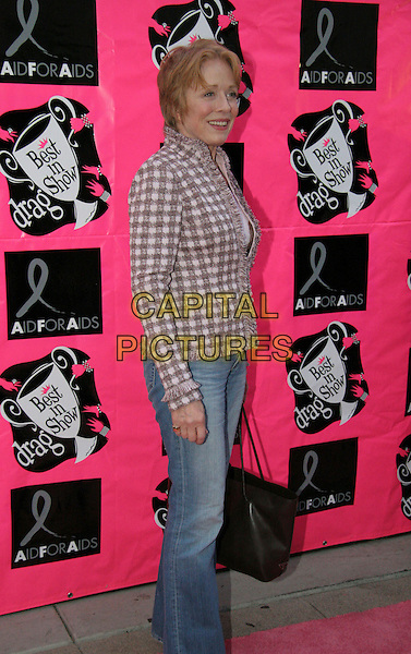 "HOLLAND TAYLOR.The Third Annual ""Best in Drag"" Show held at the Wilshire Ebell Theatre, Los Angeles, California..October 16th, 2005.Photo Credit: Christine Valenzuela/Admedia.Ref: CV/ADM.full length jeans denim pink tweed jacket brown purse bag.www.capitalpictures.com.sales@capitalpictures.com.© Capital Pictures."
