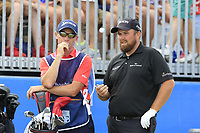 Shane Lowry (IRL) and Dermot Byrne on the 1st tee during Saturday's Round 3 of the 2018 Dubai Duty Free Irish Open, held at Ballyliffin Golf Club, Ireland. 7th July 2018.<br /> Picture: Eoin Clarke | Golffile<br /> <br /> <br /> All photos usage must carry mandatory copyright credit (&copy; Golffile | Eoin Clarke)