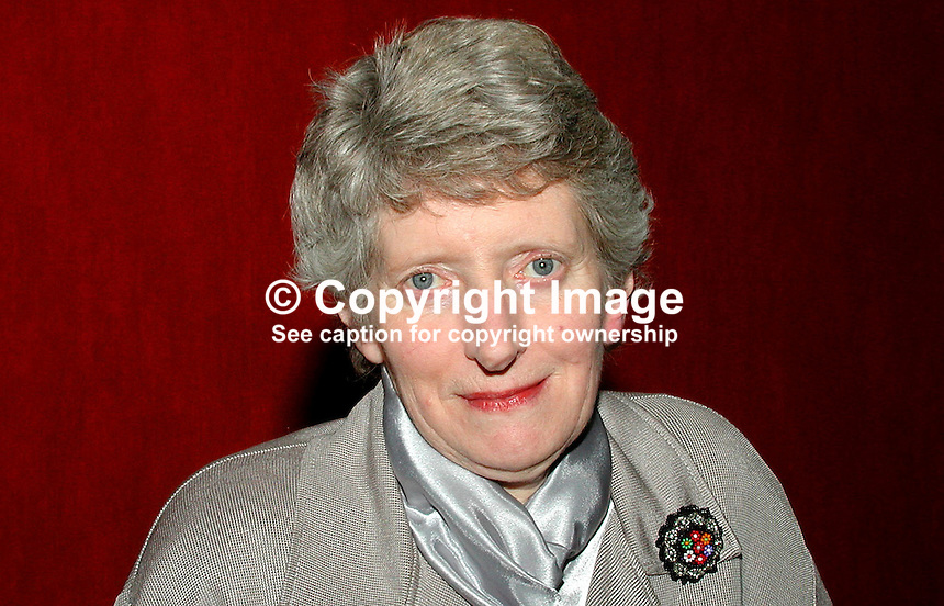Daphne Gilmour, member, N Ireland Civic Forum. Presbyterian Church elder. Examiner for NICCEA. Ref: 2001021911. Taken Feb 21, 2001...Copyright Image from Victor Patterson, 54 Dorchester Park, Belfast, UK, BT9 6RJ..Tel: +44 28 9066 1296.Mob: +44 7802 353836.Voicemail +44 20 8816 7153.Skype: victorpattersonbelfast.Email: victorpatterson@mac.com.Email: victorpatterson@ireland.com (back-up)..IMPORTANT: If you wish to use this image or any other of my images please go to www.victorpatterson.com and click on the Terms & Conditions. Then contact me by email or phone with the reference number(s) of the image(s) concerned.
