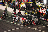 Jul. 4, 2008; Daytona Beach, FL, USA; Nascar Nationwide Series driver Steve Wallace pits during the Winn-Dixie 250 at Daytona International Speedway. Mandatory Credit: Mark J. Rebilas-