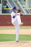 Chattanooga Lookouts relief pitcher Daniel Coulombe (18) in action against the Montgomery Biscuits at AT&T Field on July 23, 2014 in Chattanooga, Tennessee.  The Lookouts defeated the Biscuits 6-5. (Brian Westerholt/Four Seam Images)