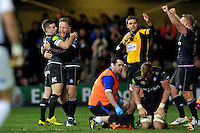 Bath Rugby players celebrate at the final whistle. European Rugby Champions Cup match, between Bath Rugby and Leinster Rugby on November 21, 2015 at the Recreation Ground in Bath, England. Photo by: Patrick Khachfe / Onside Images
