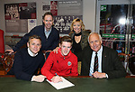 Sam Ackroyd new scholar 2018 pictured with Mum & Dad, Del Geary (l) and chairman Kevin McCabe (r) during the championship match at the Bramall Lane Stadium, Sheffield. Picture date 28th April 2018. Picture credit should read: Simon Bellis/Sportimage