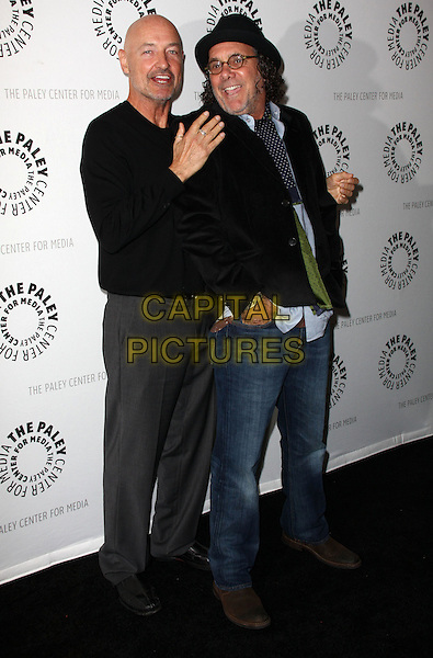 TERRY O'QUINN & JACK BENDER .27th Annual PaleyFest Presents the television show 'Lost' held At The Saban Theatre, Beverly Hills, California, USA, 27th February 2010..arrivals full length black top grey gray trousers shoes jumper sweater hat glasses jeans jacket tie hands on shoulders in pocket .CAP/ADM/KB.©Kevan Brooks/Admedia/Capital Pictures