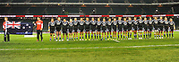 Rugby Union. Twickenham, England.  Black Ferns stand for the National Anthem during the international match between England and New Zealand Black Ferns at Twickenham Stadium on December 01, 2012 in Twickenham, England.