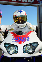 Nov. 11, 2012; Pomona, CA, USA: NHRA pro stock motorcycle rider Hector Arana Jr during the Auto Club Finals at at Auto Club Raceway at Pomona. Mandatory Credit: Mark J. Rebilas-