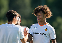 Koba Koindredi of Valencia CF U19 during the UEFA Youth League match between Chelsea U19 and Valencia Juvenil A at the Chelsea Training Ground, Cobham, England on 17 September 2019. Photo by Andy Rowland.