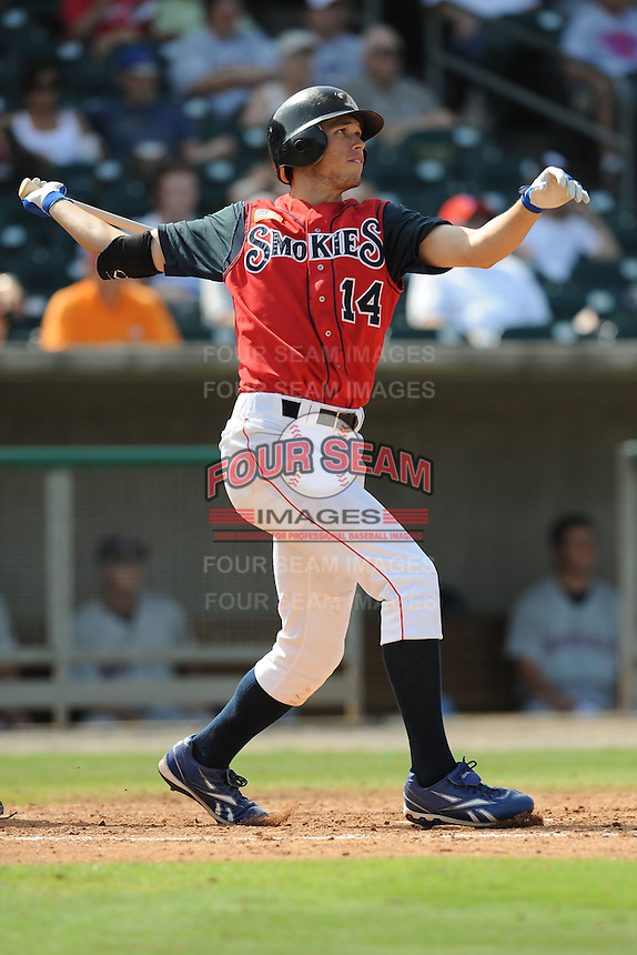 Tyler Colvin Right Fielder Tennessee Smokies (Chicago Cubs) swings at a pitch during the Southern League Playoffs at Smokies Park in Sevierville, TN September 13, 2009 (Photo by Tony Farlow/ Four Seam Images)